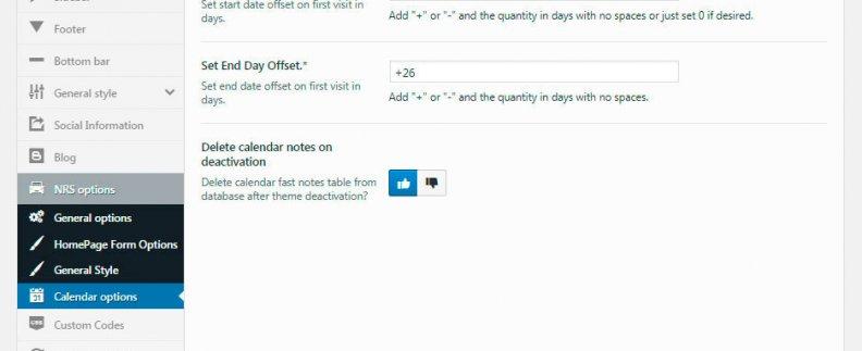 NRS Theme options - Backend Calendar options